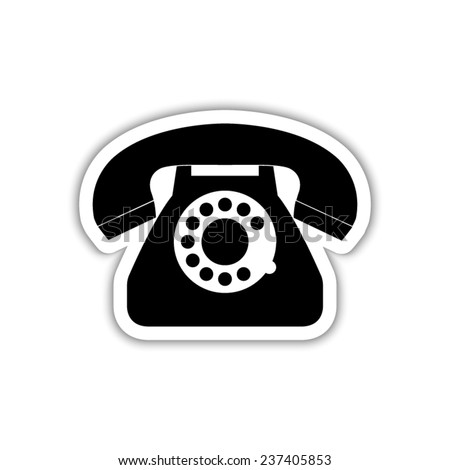 telephone  - black vector icon with shadow - stock vector