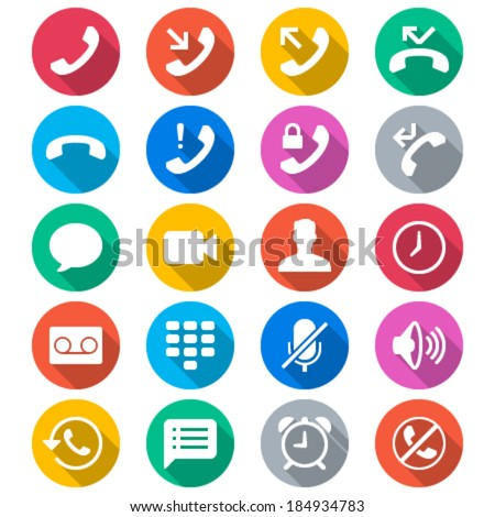 Telephone flat color icons - stock vector