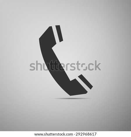 Telephone handset icon on grey background. Vector Illustration - stock vector