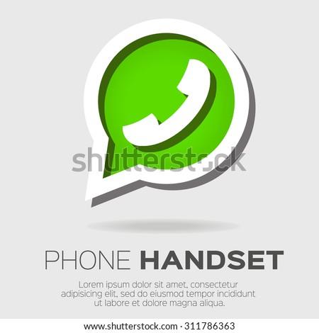 Telephone handset in speech bubble vector icon - green version. - stock vector