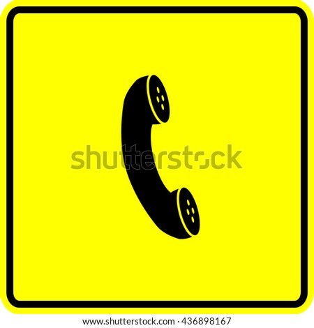 telephone handset sign - stock vector