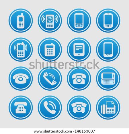 Telephone icon set - stock vector