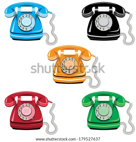 Telephone icon set, vector old rotary dial vintage phone on white background - stock vector