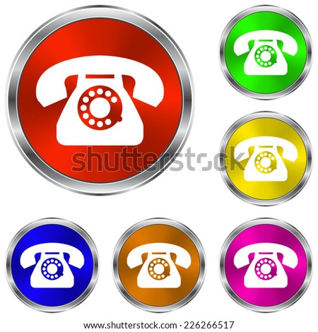 telephone icon - vector glossy colourful buttons - stock vector