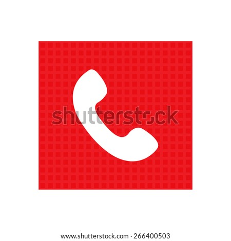 Telephone receiver vector icon. red square - stock vector