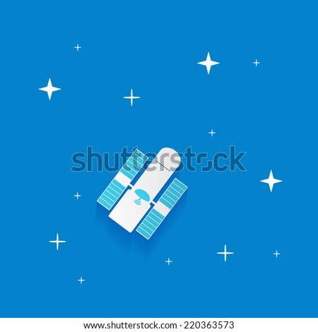 Telescope artificial satellite in space, Concept background design layout for poster flyer cover brochure web - stock vector