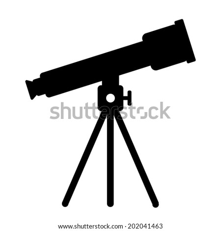 Telescope icon on white background. Vector illustration. - stock vector