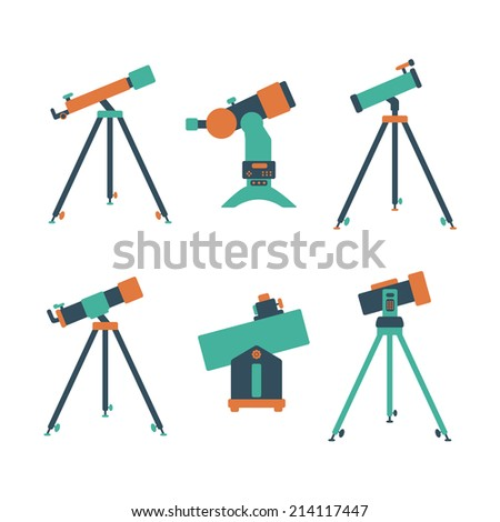 telescope icon set of flat icons on a white background - stock vector