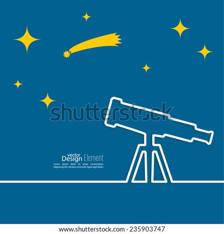 Telescope standing on a tripod. outline. Concept study, research, observing celestial bodies, stars. astronomy - stock vector