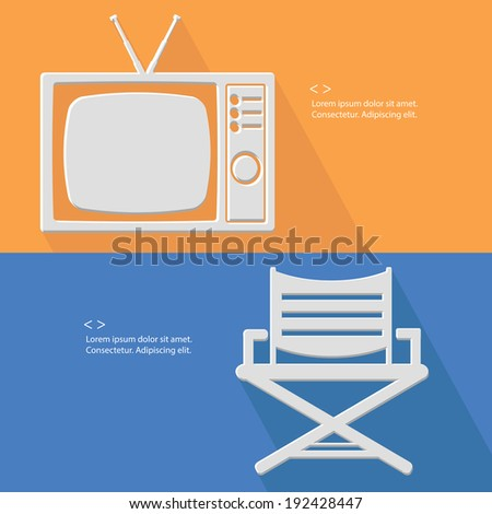 Television and chair symbol,Blank for text,vector - stock vector