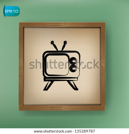 Television drawing on blackboard background,vector - stock vector