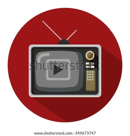 television flat icon - stock vector