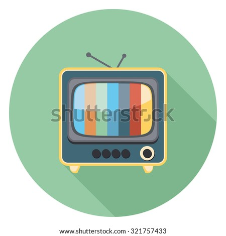 television flat icon in circle - stock vector