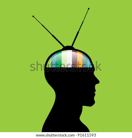Television head - stock vector
