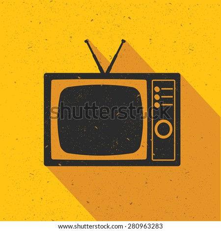 Television icon design on yellow background,flat design,clean vector - stock vector