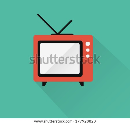 Television icon ( long shadow ) - stock vector