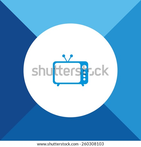 Television Icon on Blue Colored Background. Eps-10. - stock vector