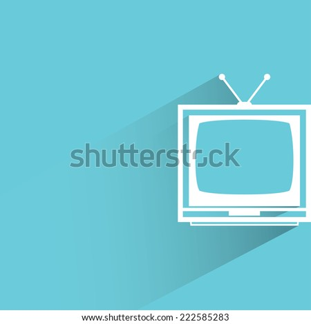 television in blue background, flat and shadow design - stock vector
