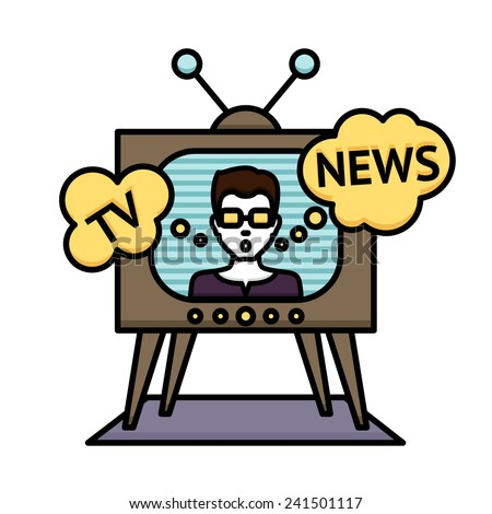 Television news poster with anchorman journalist reporter in tv vector illustration - stock vector