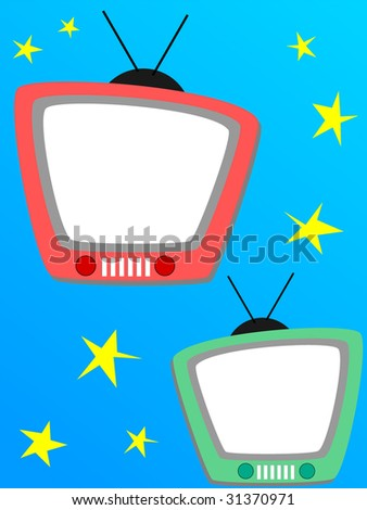 Television photo frame, or page for a scrapbook - stock vector