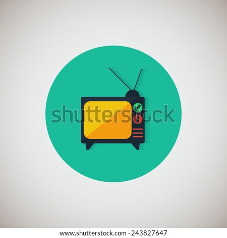 Television set flat icon. Flat design style modern vector illustration. Isolated on stylish color background. Flat long shadow icon. Elements in flat design. EPS 10. - stock vector