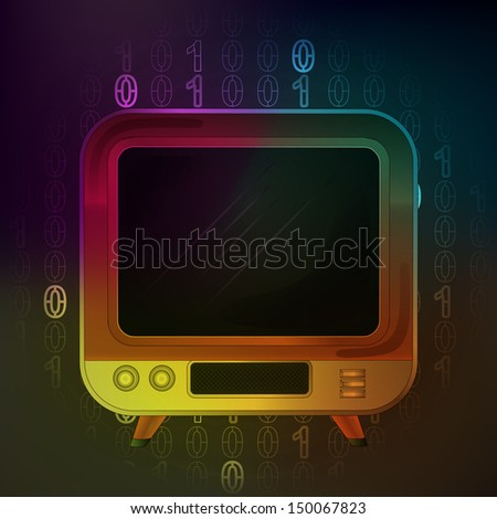 television streaming in binary internet space vector illustration - stock vector