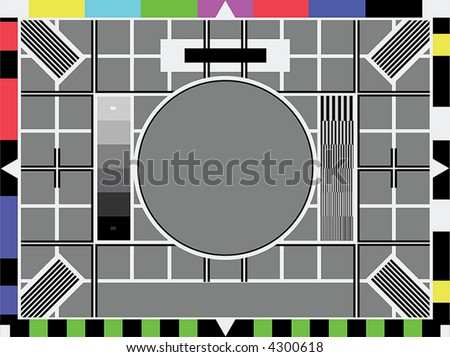 Television test screen used when no signal. Put your own image in the grey circle. Room for text in grey part below. - stock vector