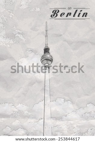 television tower in berlin - stock vector