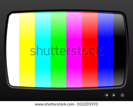 Television with test image closeup - stock vector