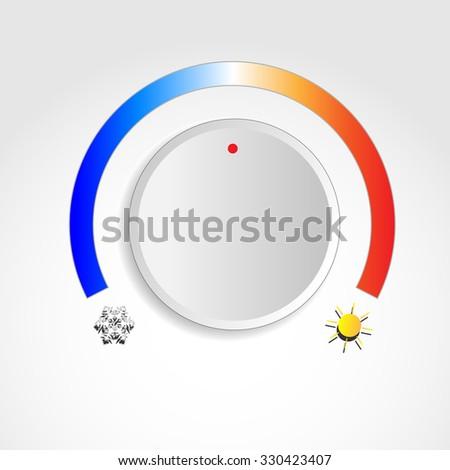 Temperature knob with sun and snowflake symbols - stock vector