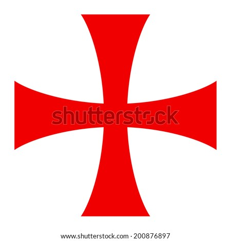 Templar cross. Spiritual chivalric order founded in the Holy Land in 1119. - stock vector