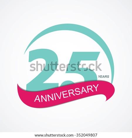 Template 25 Anniversary Vector Illustration EPS10 - stock vector