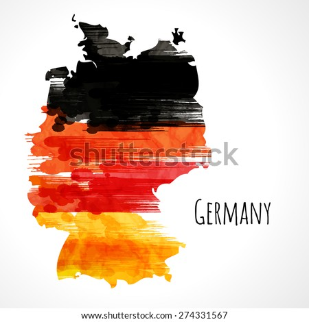 Template background. German flag made of colorful splashes - stock vector