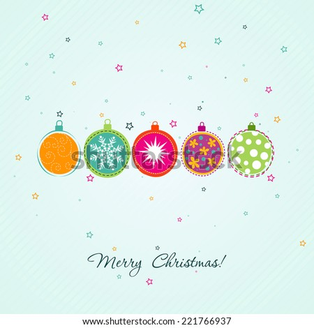 Template Christmas greeting card, vector illustration - stock vector