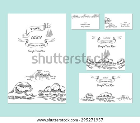 Template corporate identity with waves. Background for printed media design. Business card, invitation, greeting card, postcard. Vector Illustration - stock vector