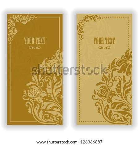 Template design for invitation with damask ornaments. Vector illustration in vintage style. - stock vector