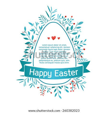 Template design greeting cards, invitations, banners, posters, stickers or label for a happy Easter. Silhouette egg with blue ribbon and spring plant elements. Vector. Place for your text. - stock vector