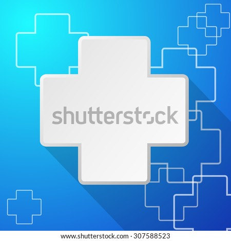 Template Design Medical icon with cross symbol vector with a plus sign ,shadow - stock vector