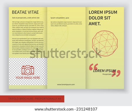 Template design of trifold brochure with polygons, polygonal sphere. Editable and bright vector with places for photos. Proportionally A4 - stock vector