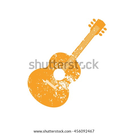 Template Design Poster with acoustic guitar silhouette. Idea for Live Music Festival, show. Entertainment or club promotion, advertisement element. Musical instrument symbol, logo.Vector illustration. - stock vector