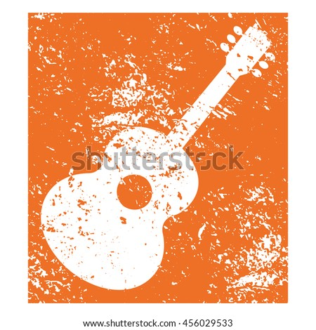 Template Design Poster with acoustic guitar silhouette. Idea for Live Music Festival, show event. Musical entertainment promotion,  advertisement element. Scratched background. Vector illustration. - stock vector