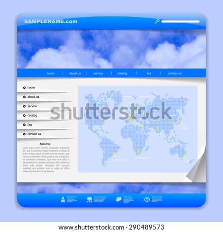 Template design with clouds in sky and digital world map on the blue background. Airlines web design. Vector Illustration - stock vector