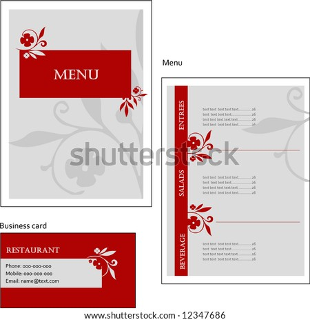 Template designs of European menu and business card for coffee shop and restaurant, vector file include - stock vector