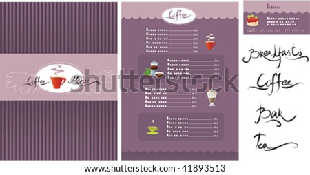 Template designs of menu and business card - stock vector