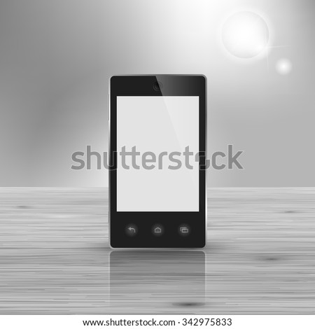Template for advertising and corporate identity. Modern smartphone. Blank mockup for design. Vector white object - stock vector