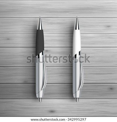 Template for advertising and corporate identity. Two ball pens. Blank mockup for design. Vector white object - stock vector