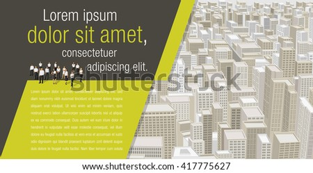 Template for advertising brochure with business people on a big city with buildings. Downtown.  - stock vector