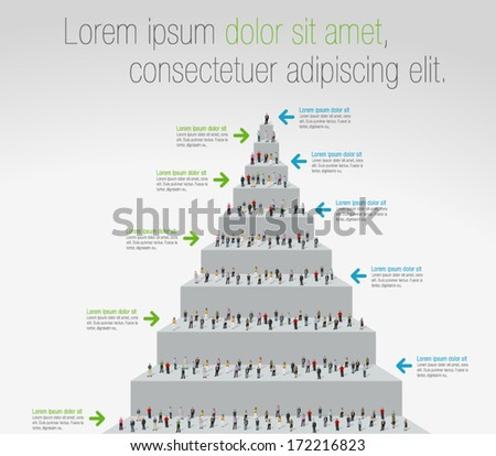 Template for advertising brochure with business people on stair - stock vector