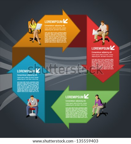 Template for advertising brochure with business people over arrows - stock vector