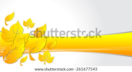 Template for advertising brochure with leaves - stock vector